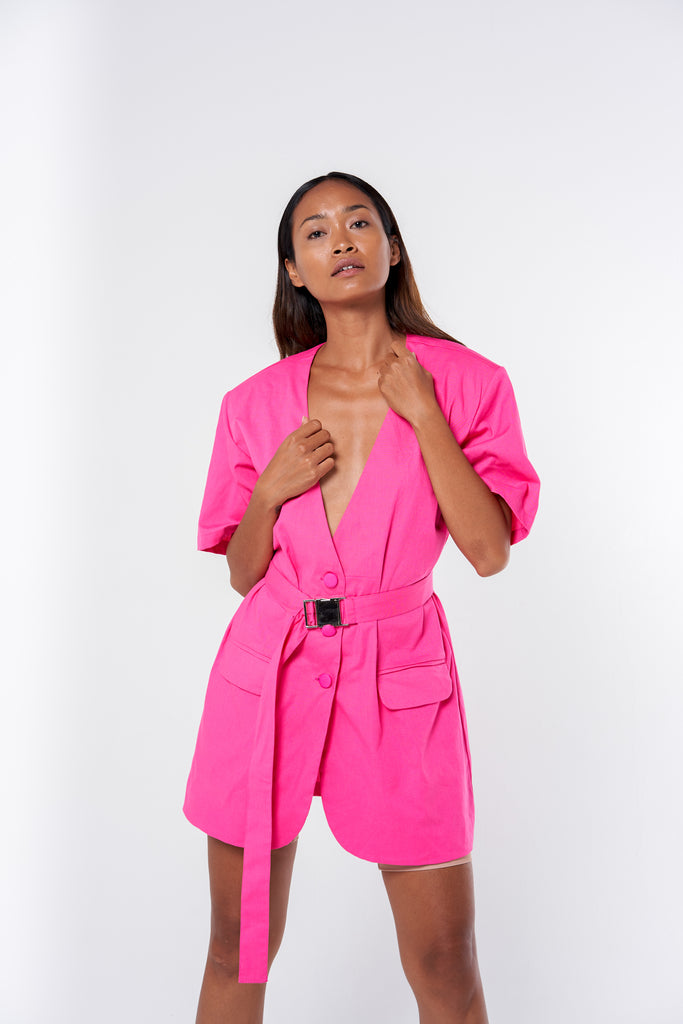 Belted Jacket Dress - hot pink