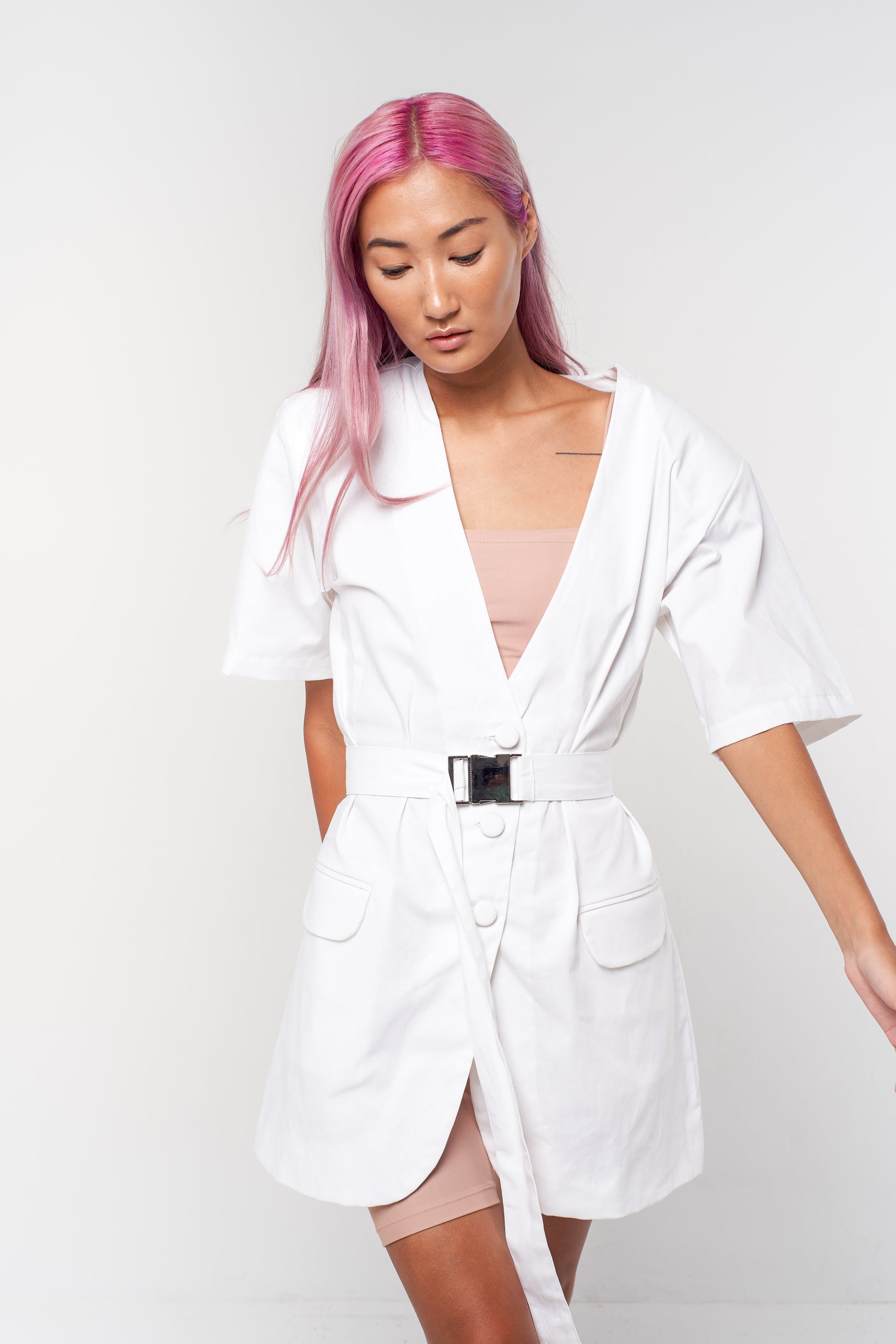 Belted Jacket Dress - white