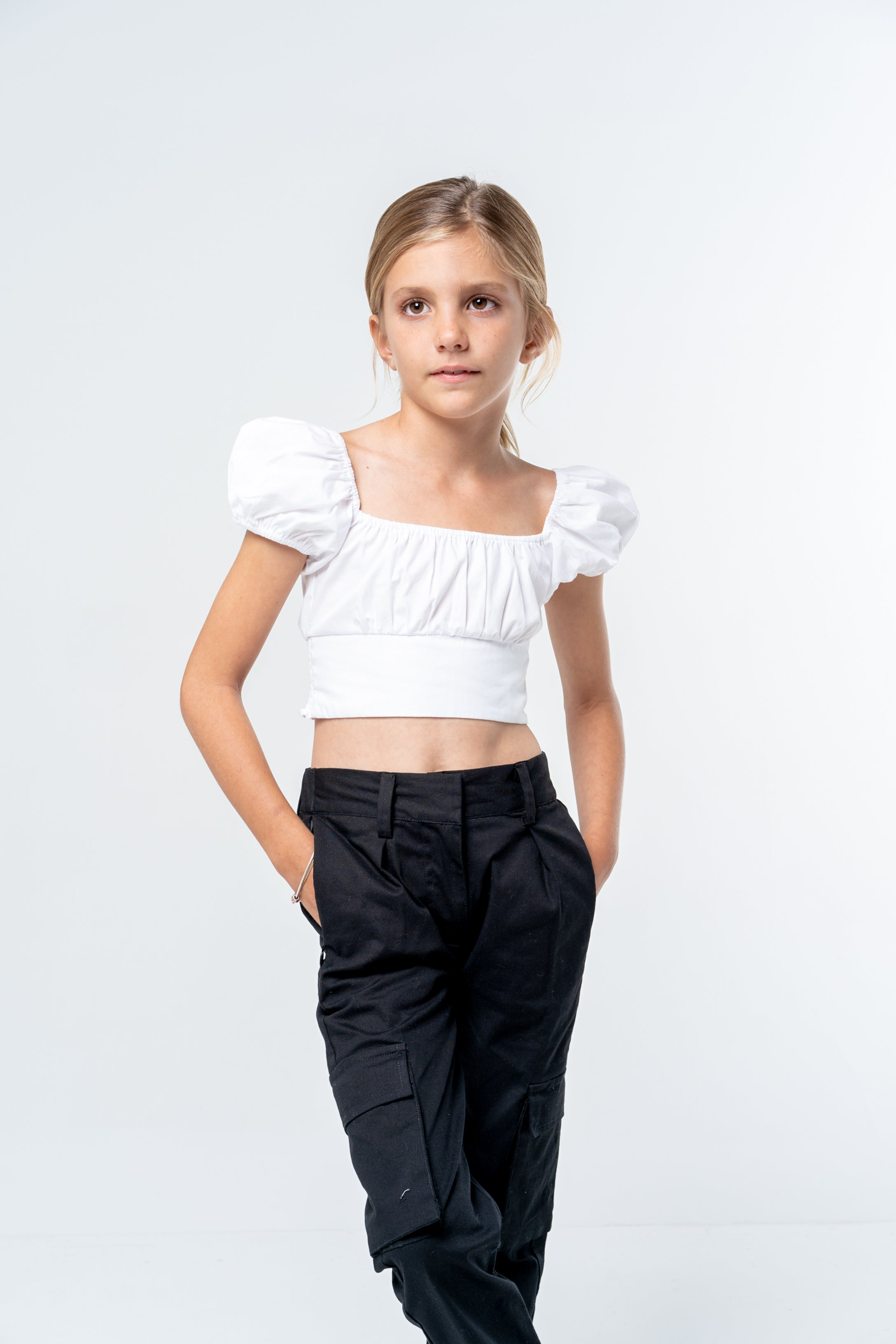 Puff Sleeve Crop - white