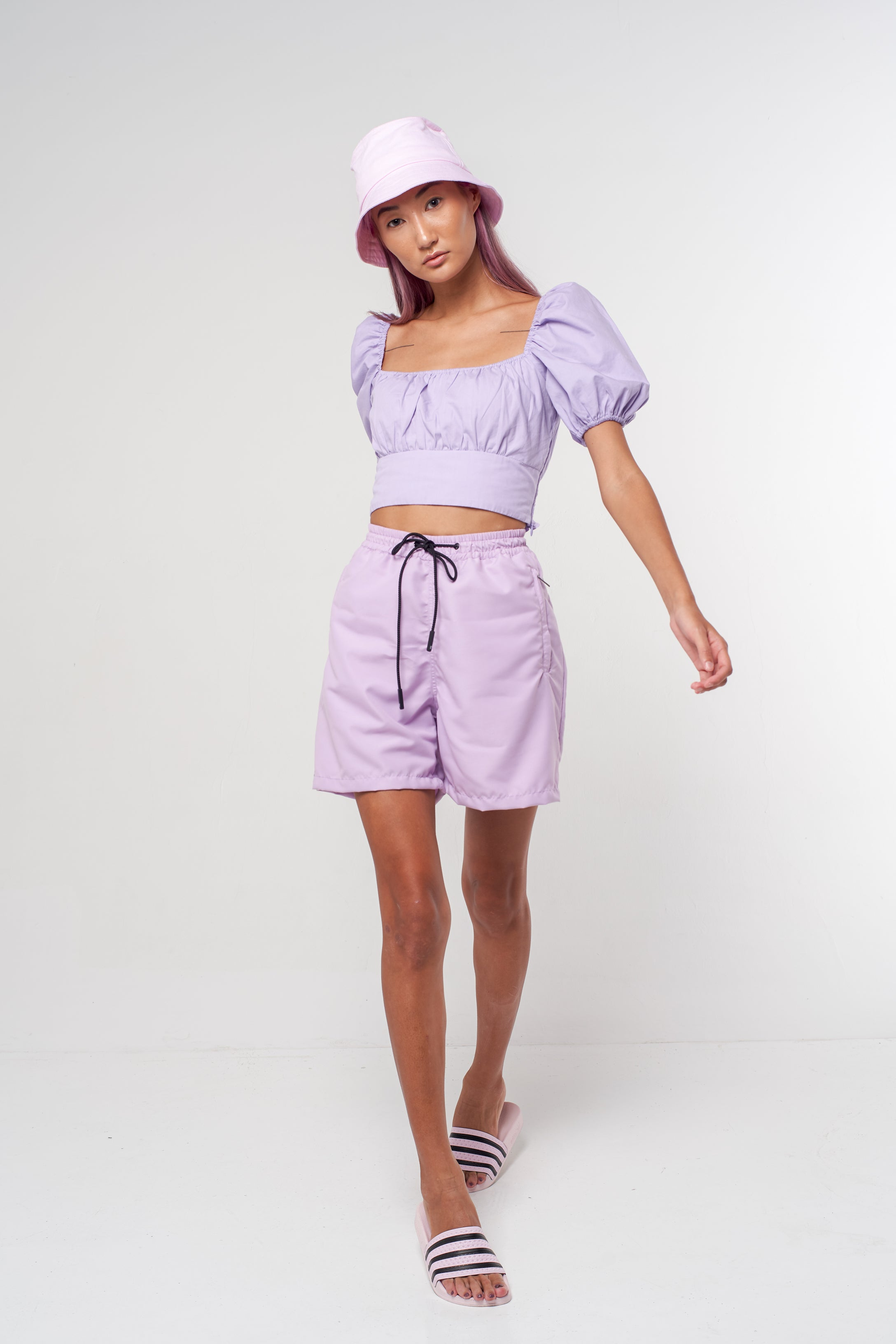 Puff Sleeve Crop - lilac