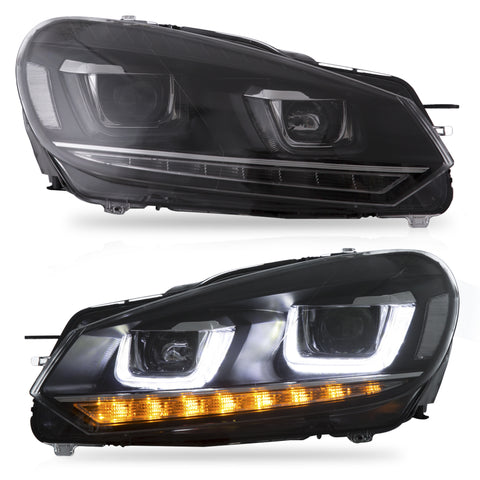 VLAND HEADLIGHT ASSEMBLY FIT FOR 2010-2013 Volkswagen GOLF MK6 NO GTI , Two Types