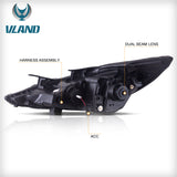 VLAND HEADLIGHT ASSEMBLY FIT FOR Hyundai Sonata 2011-2014 GLS Limited SE 2011-2015 Hybrid - VLAND