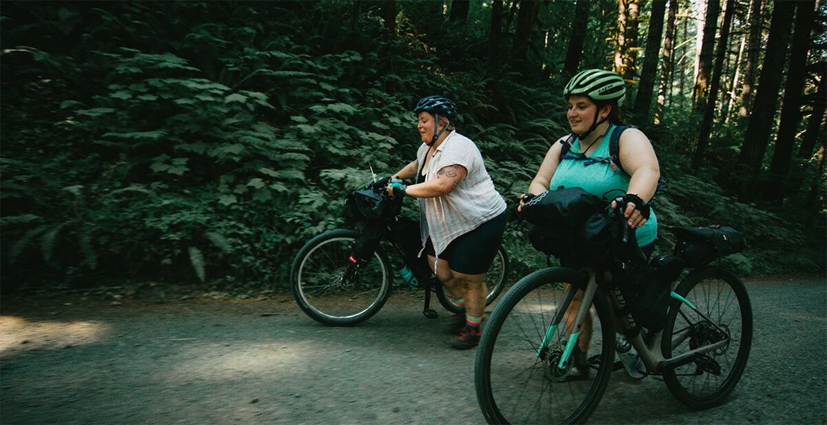 """Kailey and Marley Bikepacking on Gravel bikes in the Shimano Originals """" All Bodies on Bikes"""""""