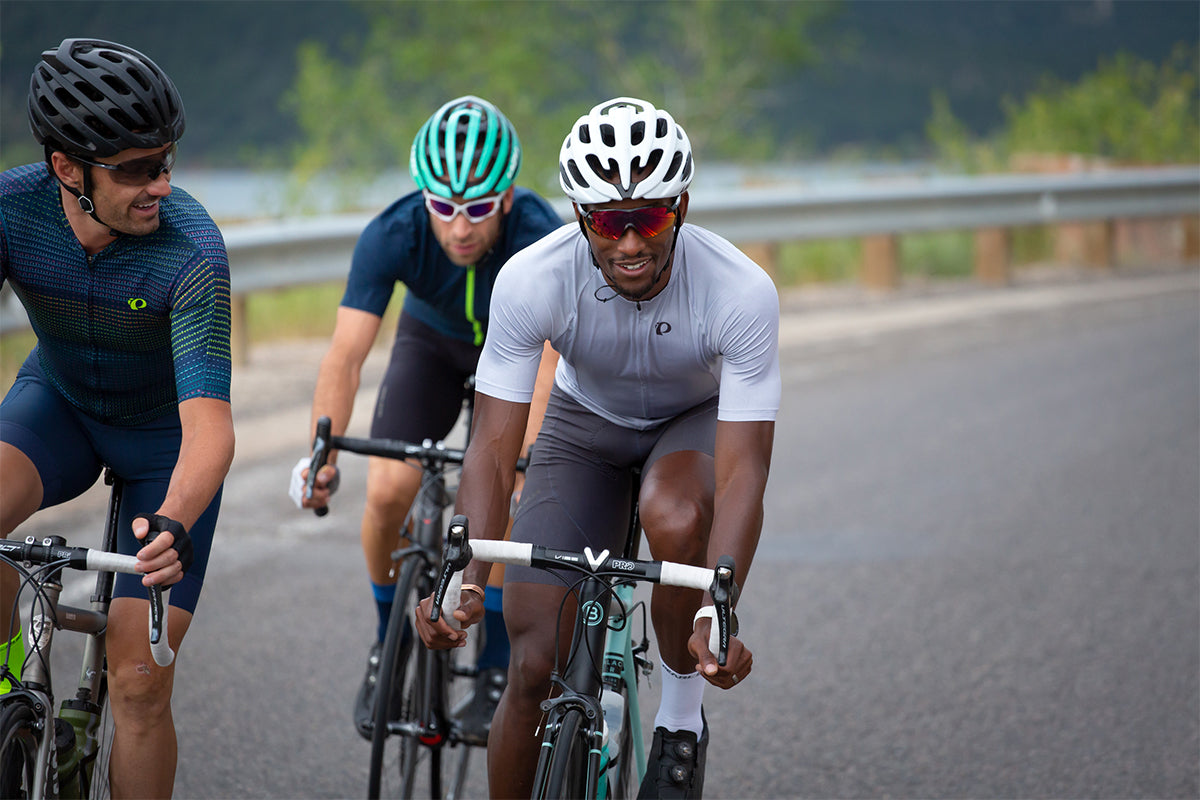 Group of friends Road cycling and wearing Lazer MIPS helmets learn how MIPS provides more protection