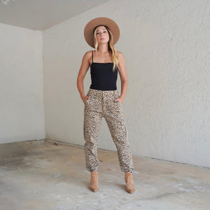 Leopard Printed Cargo Pants