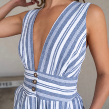 Load image into Gallery viewer, Blue + White Striped Linen Jumpsuit