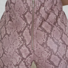 Load image into Gallery viewer, Blush Snake Skin Mini Shorts with Center Back Zipper