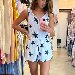 White + Black Star Romper