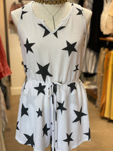 Load image into Gallery viewer, White + Black Star Romper
