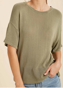 Basil Green Knit Top
