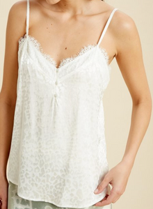 Ivory Lace Trim Button Up Cami