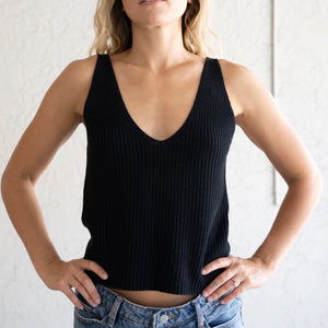 V Neck Knit Tank Top
