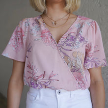 Load image into Gallery viewer, Pink Floral Short Sleeve Bodysuit