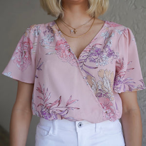 Pink Floral Short Sleeve Bodysuit