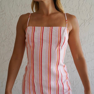 Straight Neckline Striped Print Dress