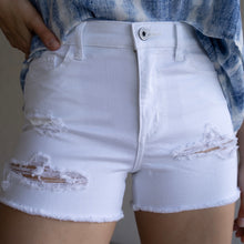 Load image into Gallery viewer, White Distressed Denim Shorts