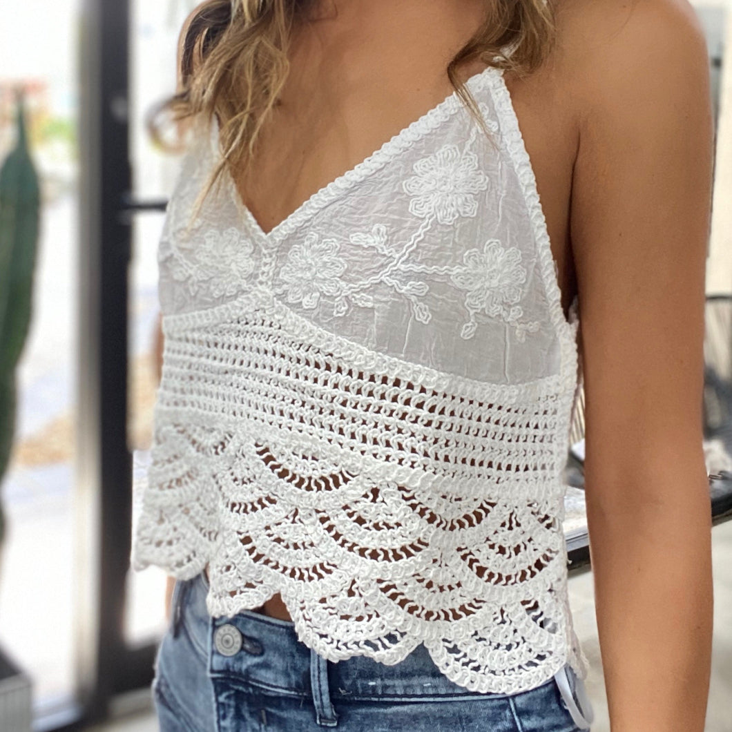 Crochet Trim Tank Top