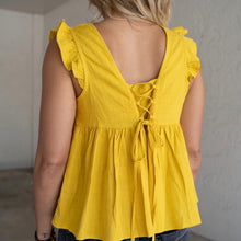 Load image into Gallery viewer, Linen Ruffled Cap Sleeve Top