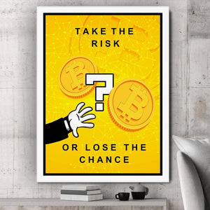 Bitcoin Risk Painting Framed Canvas Wall Art