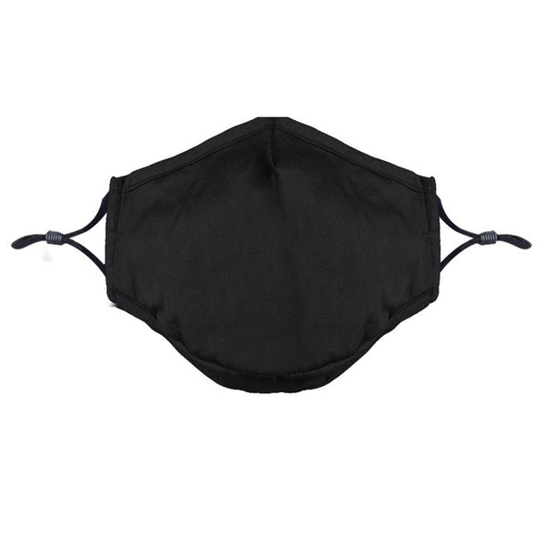 Triple Layer Black Cotton Mask With Adjustable Nose Bridge & Ear Loops (Unit Price: €3.29 - Sold Box 10 Masks)