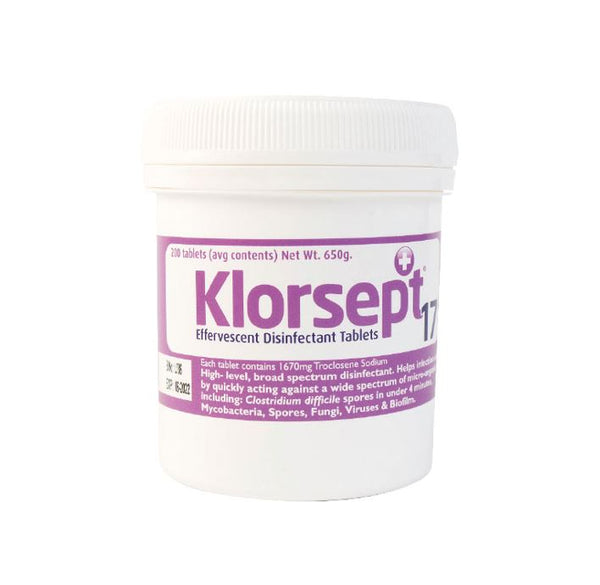Klorsept 17 Disinfectant Tablets – For Use in Fogger (Unit Price - €75.00 Sold Box 200 Tablets)