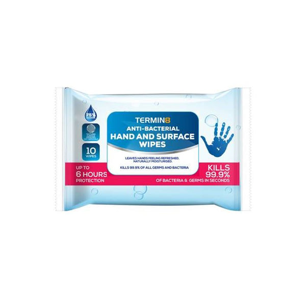 Anti-Bacterial Wipes | 75% Alcohol | Pocket Size 10 Wipes (Unit Price €1.10 - Sold Box 40 Packs)
