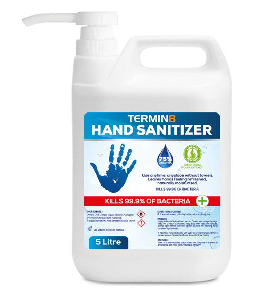 Termin8 Anti-Bacterial Hand Sanitiser 5L Inc Pump (Unit Price: €39 - Sold Box 3 Drums)