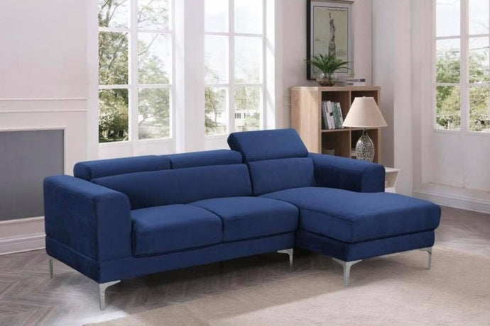 ZOOK - FABRIC SECTIONAL WITH ADJUSTABLE HEADREST (ROYAL BLUE, BEIGE)