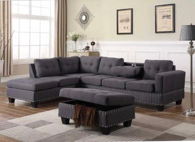 BARCELONA - FABRIC REVERSIBLE SECTIONAL WITH DROP DOWN CUPHOLDER