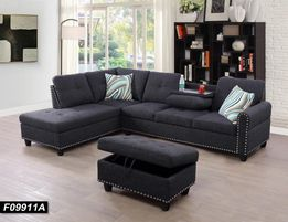 VENICE - FABRIC SECTIONAL WITH DROP DOWN CUPHOLDER AND EMBEDDED STUDS