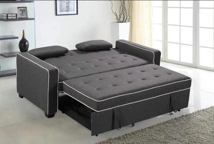 KIEV - FABRIC SOFA BED WITH TWO TOSS PILLOWS