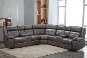 CABOLT CORNER RECLINER SECTIONAL WITH TWO CONSOLES - GREY, BLACK