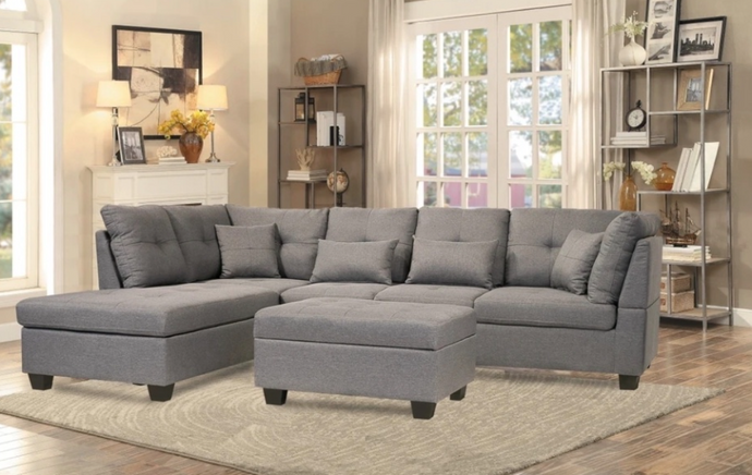 VIENNA FABRIC SECTIONAL SET WITH 4 TOSS PILLOWS