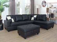 Load image into Gallery viewer, BELMONT - AIR LEATHER SECTIONAL SET WITH STORAGE OTTOMAN AND TWO TOSS PILLOWS