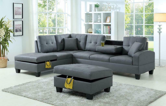 DENVER SECTIONAL WITH DROP DOWN CUPHOLDER AND STORAGE OTTOMAN