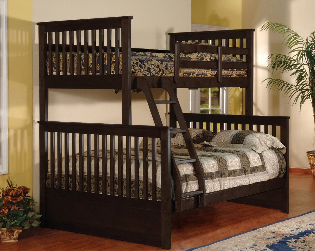 ELLIOT BUNK BED - SINGLE OVER DOUBLE SOLID WOOD (White, Espresso)