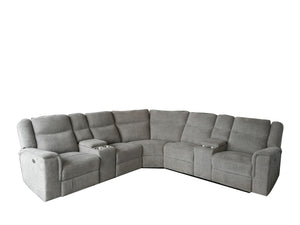 EVALYNE - FABRIC POWER RECLINER SECTIONAL WITH TWO CONSOLES