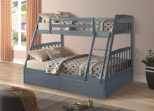 Load image into Gallery viewer, LAKE SIDE BUNK BED - SINGLE OVER DOUBLE WITH 2 DRAWERS SOLID WOOD