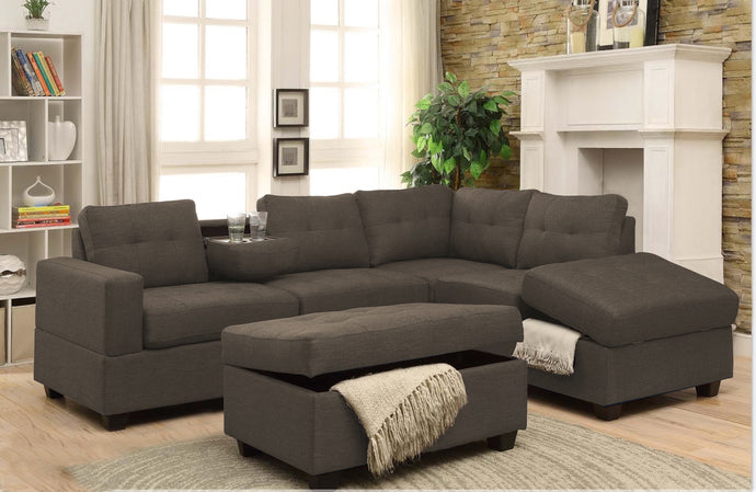 MADRID - FABRIC SECTIONAL WITH REVERSIBLE CHAISE AND DROP DOWN TRAY (GREY, BROWN, BLACK , BEIGE)