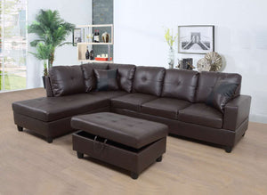 BELMONT - AIR LEATHER SECTIONAL SET WITH STORAGE OTTOMAN AND TWO TOSS PILLOWS