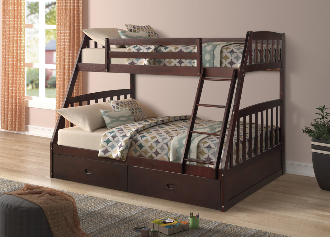 LAKE SIDE BUNK BED - SINGLE OVER DOUBLE WITH 2 DRAWERS SOLID WOOD
