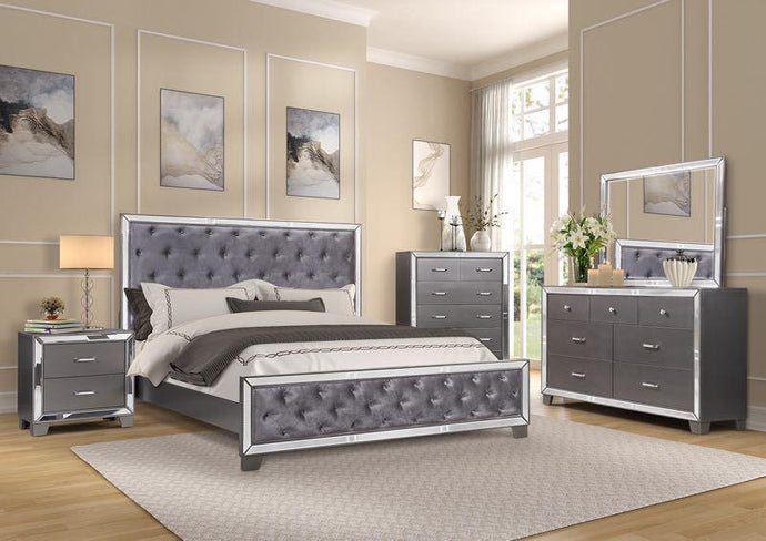 LISA - BEDROOM SET WITH TUFTED HEAD AND FOOTBOARD - 8 PC