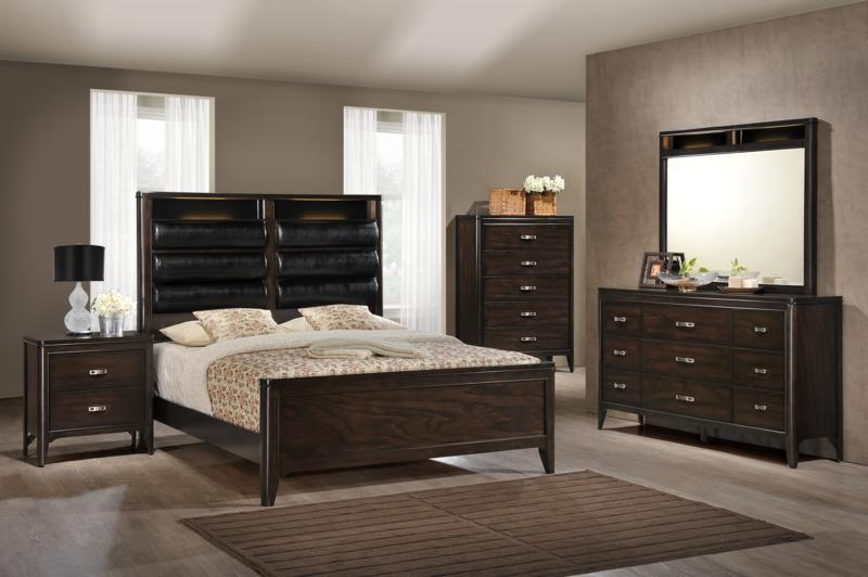 LINDSY - BEDROOM SET WITH LEATHER PADDED, STORAGE AND USB PORT HEADBOARD - 8 PC