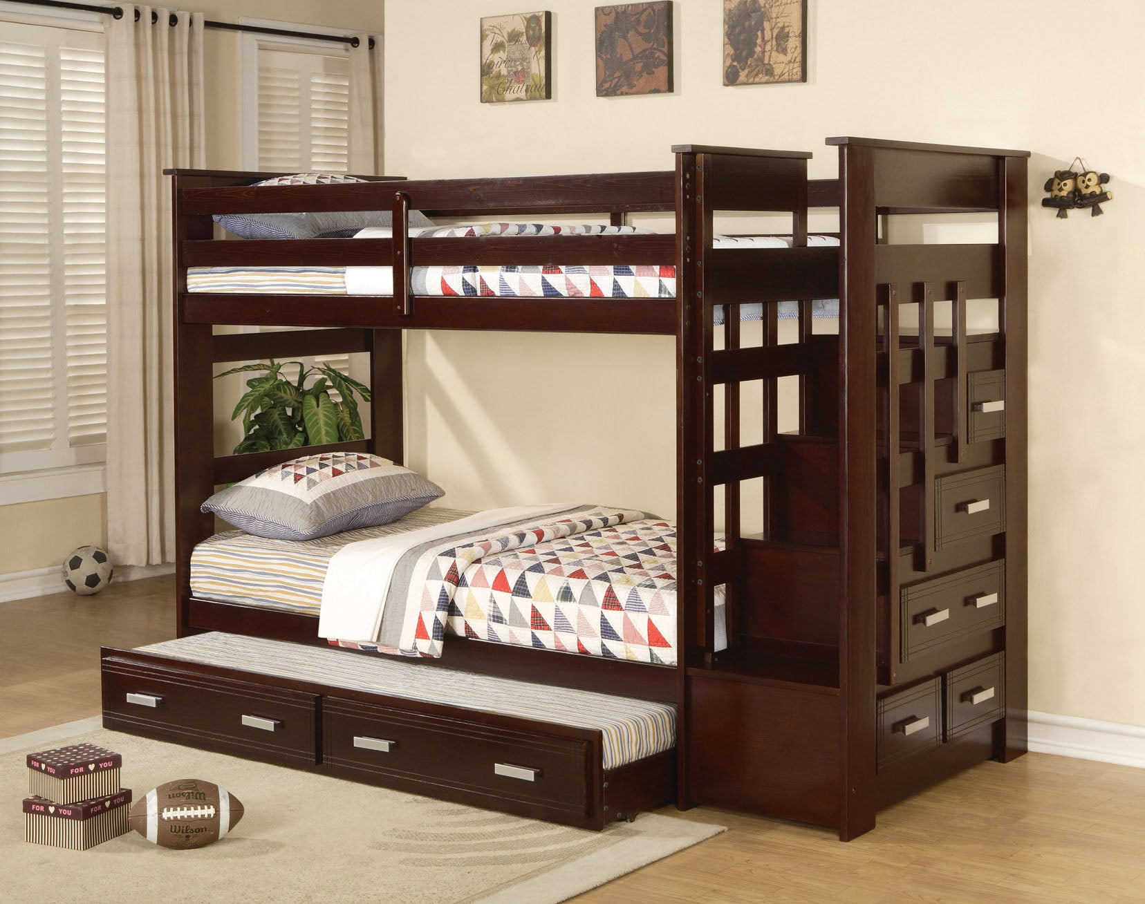 Picture of: Mian Bunk Bed Single Over Single With Solid Wood Trundle Drawers S North End Furniture Mattresses