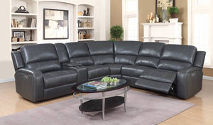 HORIZON - GEL LEATHER CORNER POWER RECLINER SECTIONAL