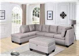 Winston - FABRIC SECTIONAL WITH EMBEDDED STUD OUTLINING