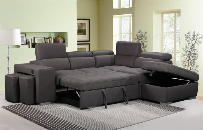 POSITANI - FABRIC SECTIONAL WITH PULL OUT BED, STORAGE OTTOMAN, TWO STOOLS