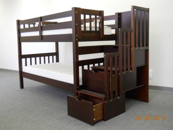 MIAN - SINGLE OVER SINGLE WITH TRUNDLE, STORAGE AND STAIRCASE SOLID WOOD