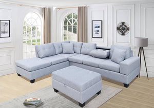 MIAMI - FABRIC SECTIONAL WITH REVERSIBLE CHAISE AND DROP DOWN CUPHOLDER