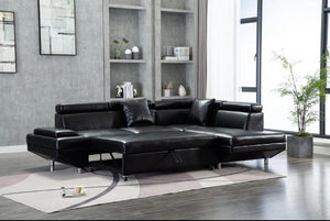EDWIN - SECTIONAL SOFA BED WITH ADJUSTABLE HEADRESTS IN BLACK, BROWN OR GREY
